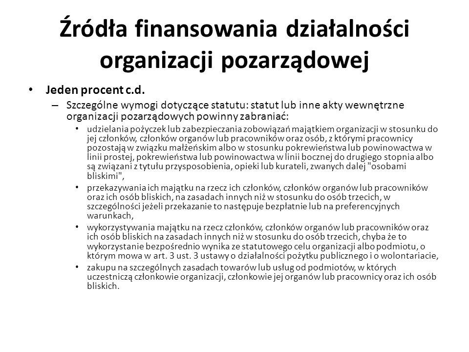Źródła finansowania działalności organizacji pozarządowej Jeden procent c.d. – Szczególne wymogi dotyczące statutu: statut lub inne akty wewnętrzne or