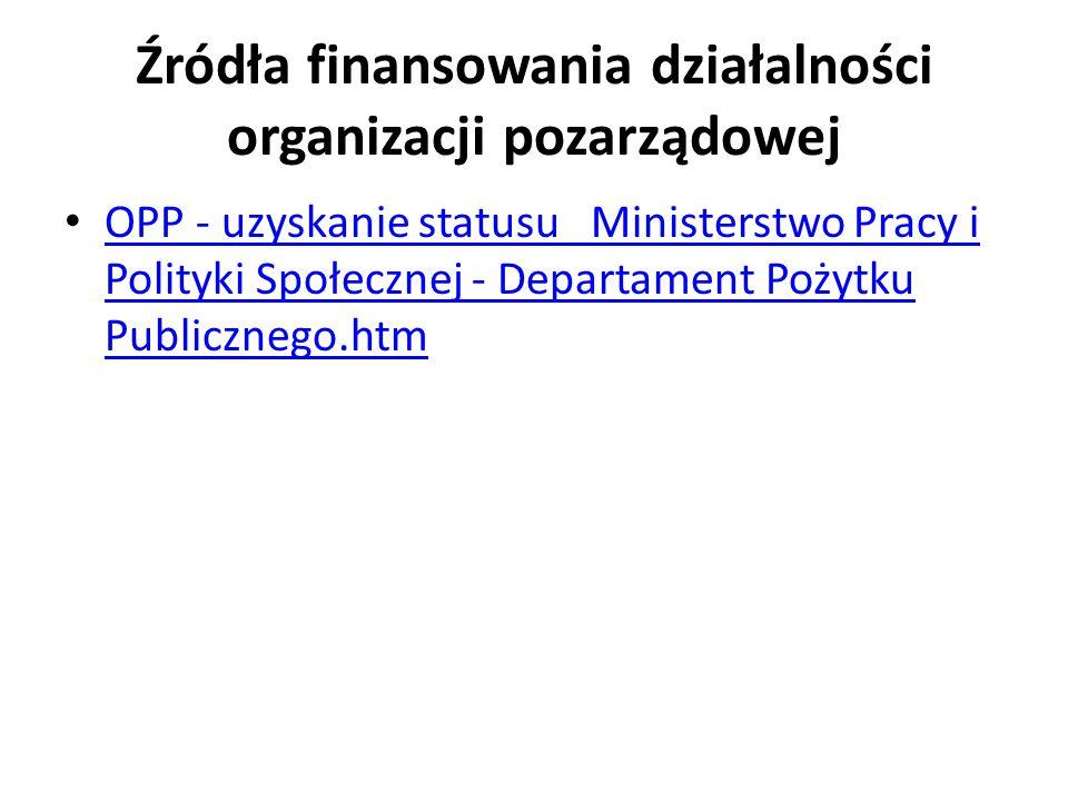 Źródła finansowania działalności organizacji pozarządowej OPP - uzyskanie statusu Ministerstwo Pracy i Polityki Społecznej - Departament Pożytku Publi