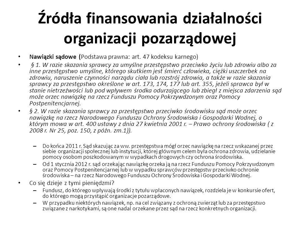 Źródła finansowania działalności organizacji pozarządowej Nawiązki sądowe (Podstawa prawna: art. 47 kodeksu karnego) § 1. W razie skazania sprawcy za