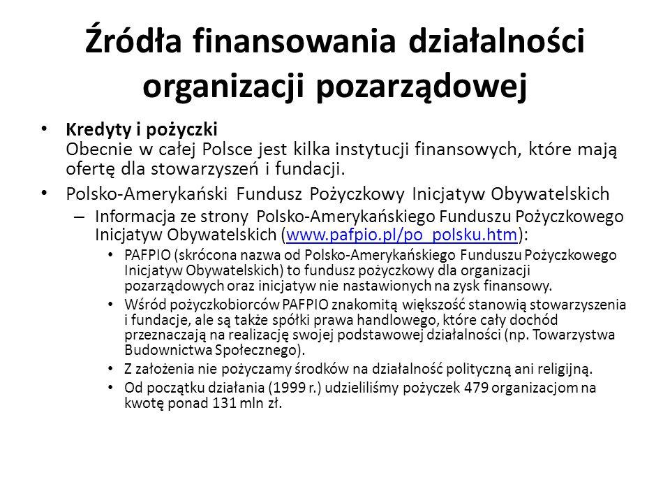 Źródła finansowania działalności organizacji pozarządowej Kredyty i pożyczki Obecnie w całej Polsce jest kilka instytucji finansowych, które mają ofer
