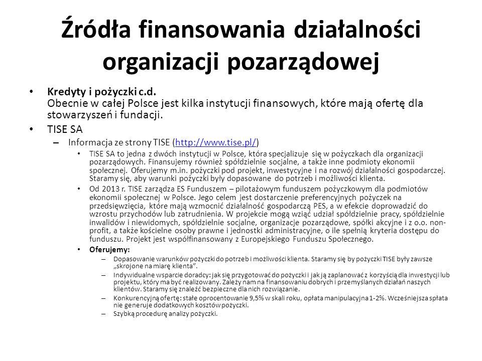 Źródła finansowania działalności organizacji pozarządowej Kredyty i pożyczki c.d. Obecnie w całej Polsce jest kilka instytucji finansowych, które mają