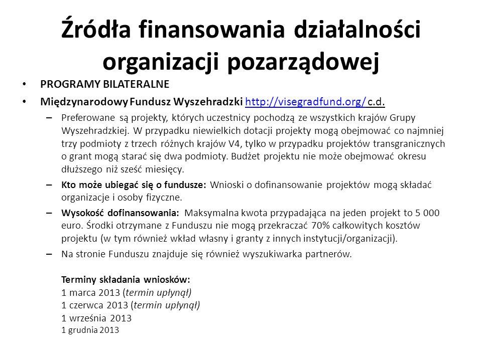 Źródła finansowania działalności organizacji pozarządowej PROGRAMY BILATERALNE Międzynarodowy Fundusz Wyszehradzki http://visegradfund.org/ c.d.http:/