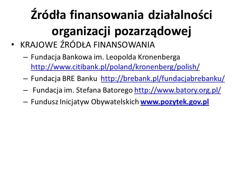 Źródła finansowania działalności organizacji pozarządowej KRAJOWE ŹRÓDŁA FINANSOWANIA – Fundacja Bankowa im. Leopolda Kronenberga http://www.citibank.