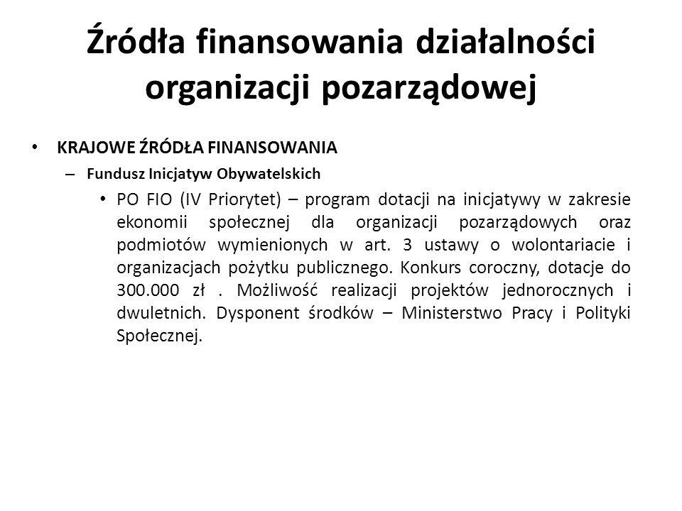 Źródła finansowania działalności organizacji pozarządowej KRAJOWE ŹRÓDŁA FINANSOWANIA – Fundusz Inicjatyw Obywatelskich PO FIO (IV Priorytet) – progra