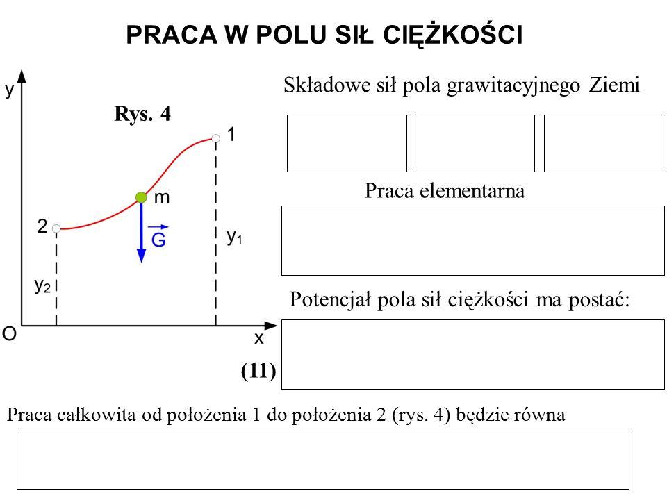 PRACA W POLU SIŁ CIĘŻKOŚCI Rys. 4 Składowe sił pola grawitacyjnego Ziemi Praca elementarna Potencjał pola sił ciężkości ma postać: (11) Praca całkowit