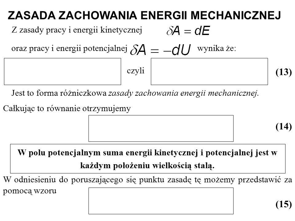oraz pracy i energii potencjalnej wynika że: ZASADA ZACHOWANIA ENERGII MECHANICZNEJ (13) czyli Jest to forma różniczkowa zasady zachowania energii mec