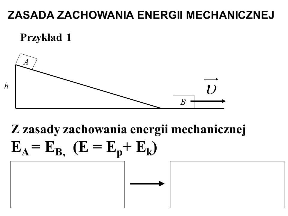 Przykład 1 A B h Z zasady zachowania energii mechanicznej E A = E B, (E = E p + E k ) ZASADA ZACHOWANIA ENERGII MECHANICZNEJ