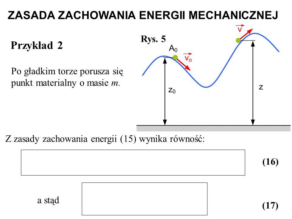 Po gładkim torze porusza się punkt materialny o masie m. Rys. 5 Z zasady zachowania energii (15) wynika równość: a stąd (16) (17) Przykład 2 ZASADA ZA