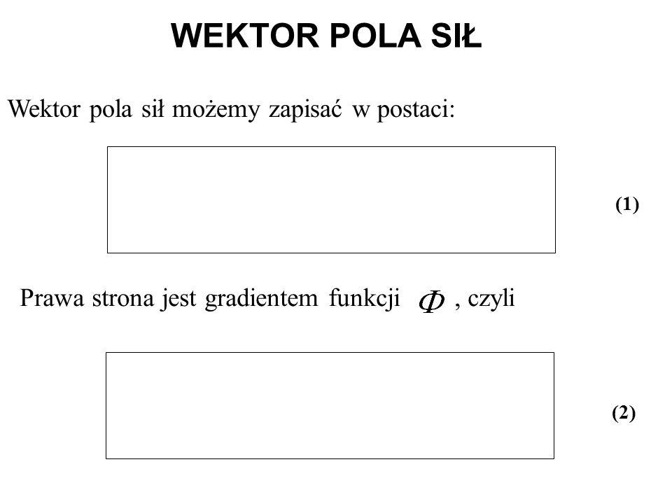 Wektor pola sił możemy zapisać w postaci: Prawa strona jest gradientem funkcji, czyli WEKTOR POLA SIŁ (1) (2)