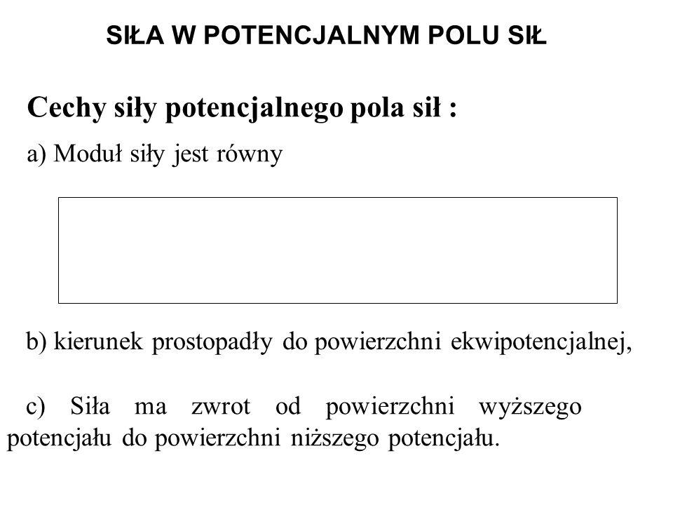 SIŁA W POTENCJALNYM POLU SIŁ Cechy siły potencjalnego pola sił : a) Moduł siły jest równy b) kierunek prostopadły do powierzchni ekwipotencjalnej, c) Siła ma zwrot od powierzchni wyższego potencjału do powierzchni niższego potencjału.