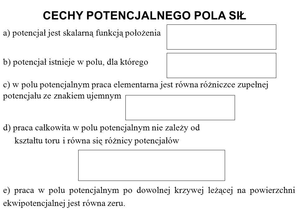 CECHY POTENCJALNEGO POLA SIŁ a) potencjał jest skalarną funkcją położenia b) potencjał istnieje w polu, dla którego c) w polu potencjalnym praca elementarna jest równa różniczce zupełnej potencjału ze znakiem ujemnym e) praca w polu potencjalnym po dowolnej krzywej leżącej na powierzchni ekwipotencjalnej jest równa zeru.