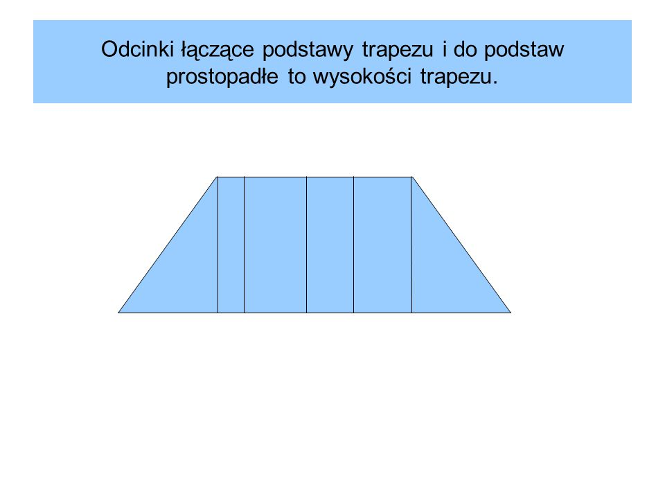 Odcinki łączące podstawy trapezu i do podstaw prostopadłe to wysokości trapezu.