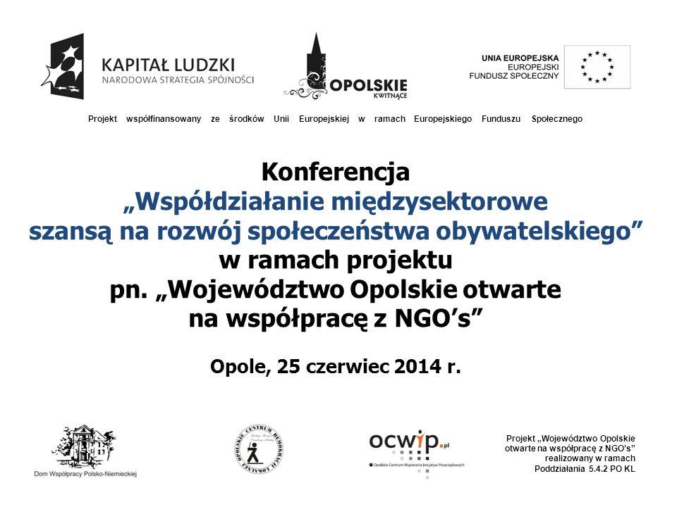 """Konferencja """"Współdziałanie międzysektorowe szansą na rozwój społeczeństwa obywatelskiego w ramach projektu pn."""