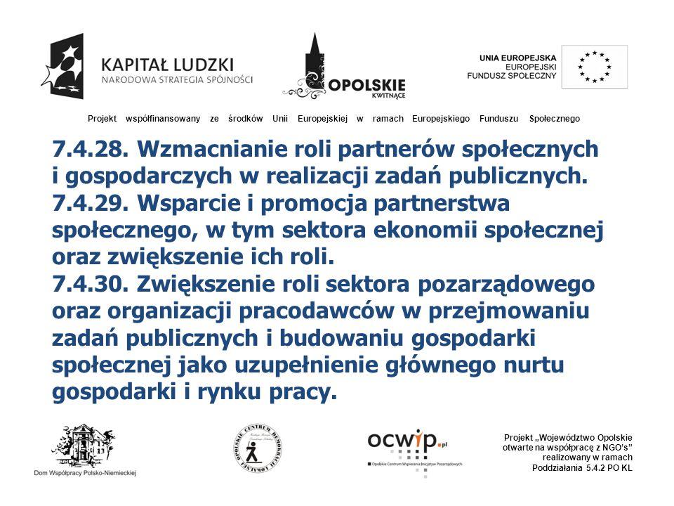 """Projekt współfinansowany ze środków Unii Europejskiej w ramach Europejskiego Funduszu Społecznego Projekt """"Województwo Opolskie otwarte na współpracę z NGO's realizowany w ramach Poddziałania 5.4.2 PO KL 7.4.28."""