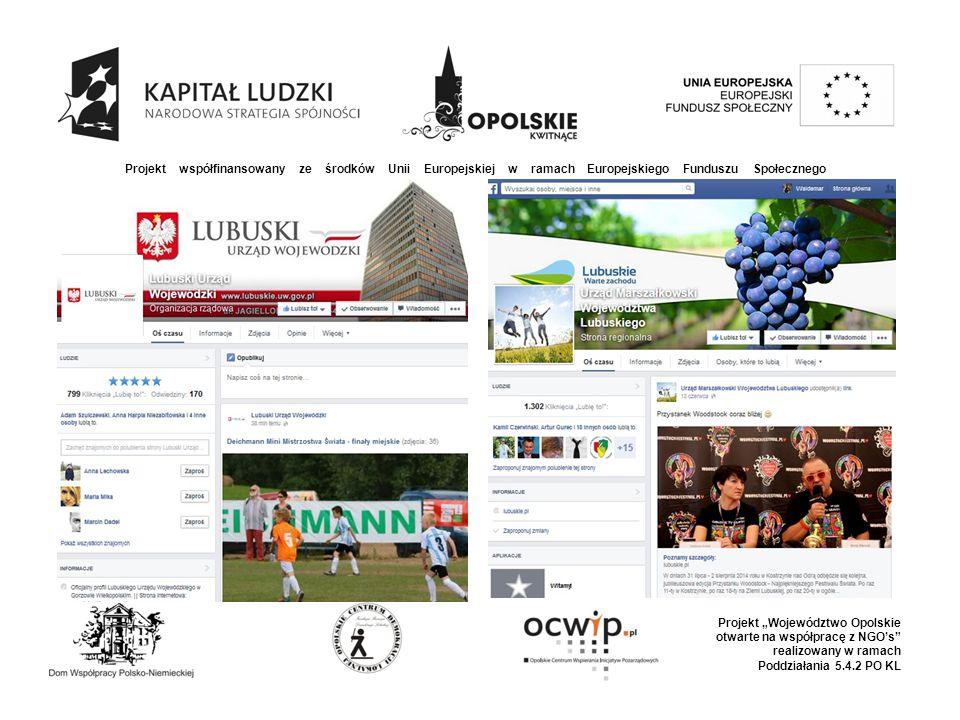 """Projekt współfinansowany ze środków Unii Europejskiej w ramach Europejskiego Funduszu Społecznego Projekt """"Województwo Opolskie otwarte na współpracę z NGO's realizowany w ramach Poddziałania 5.4.2 PO KL"""