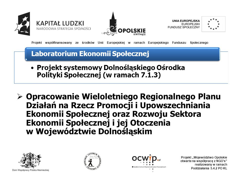 """ Opracowanie Wieloletniego Regionalnego Planu Działań na Rzecz Promocji i Upowszechniania Ekonomii Społecznej oraz Rozwoju Sektora Ekonomii Społecznej i jej Otoczenia w Województwie Dolnośląskim Projekt współfinansowany ze środków Unii Europejskiej w ramach Europejskiego Funduszu Społecznego Projekt """"Województwo Opolskie otwarte na współpracę z NGO's realizowany w ramach Poddziałania 5.4.2 PO KL Projekt systemowy Dolnośląskiego Ośrodka Polityki Społecznej (w ramach 7.1.3) Laboratorium Ekonomii Społecznej"""