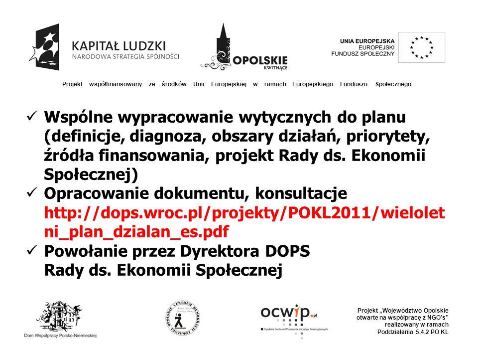 """Projekt współfinansowany ze środków Unii Europejskiej w ramach Europejskiego Funduszu Społecznego Projekt """"Województwo Opolskie otwarte na współpracę z NGO's realizowany w ramach Poddziałania 5.4.2 PO KL 2011 – Urząd Marszałkowski w procedurze konkursowej wyłonił operatora sieci 13 Punktów Konsultacyjno- Doradczych – DFOP i Stowarzyszenie """"Tratwa w partnerstwie z 13 lokalnymi NGO tworzą spójną sieć"""