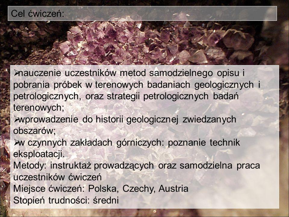  nauczenie uczestników metod samodzielnego opisu i pobrania próbek w terenowych badaniach geologicznych i petrologicznych, oraz strategii petrologicz
