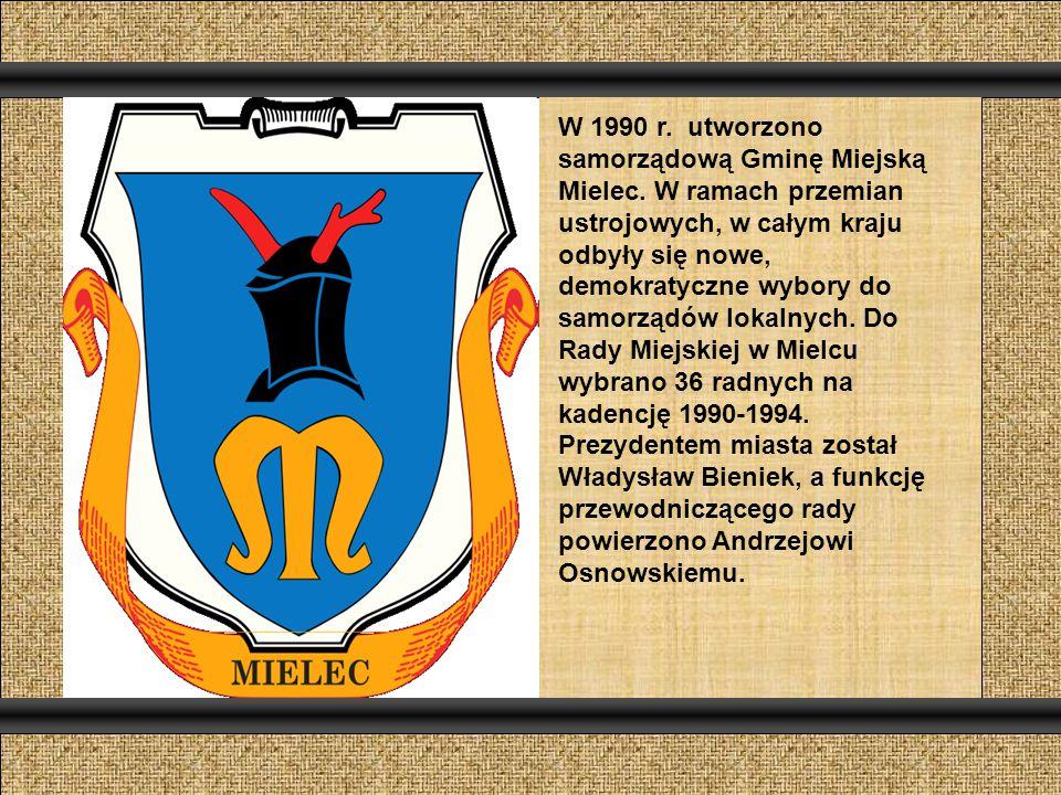 W 1990 r. utworzono samorządową Gminę Miejską Mielec.