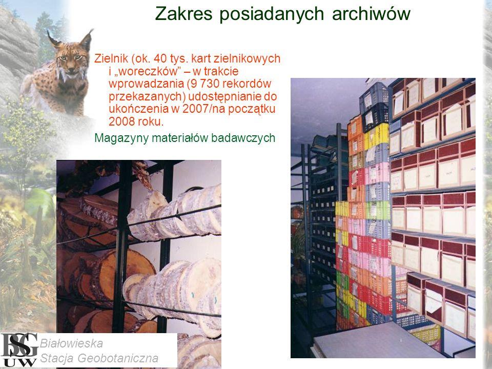 Zakres posiadanych archiwów Zielnik (ok. 40 tys.