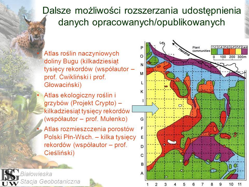 Dalsze możliwości rozszerzania udostępnienia danych opracowanych/opublikowanych Atlas roślin naczyniowych doliny Bugu (kilkadziesiąt tysięcy rekordów (współautor – prof.