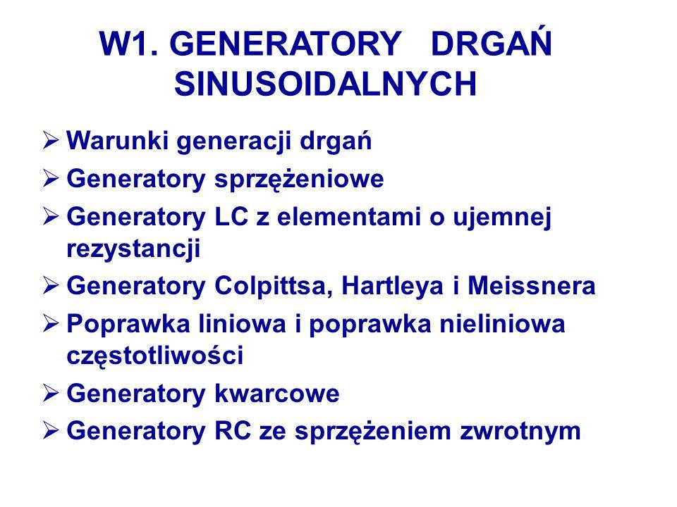 W1. GENERATORY DRGAŃ SINUSOIDALNYCH  Warunki generacji drgań  Generatory sprzężeniowe  Generatory LC z elementami o ujemnej rezystancji  Generator