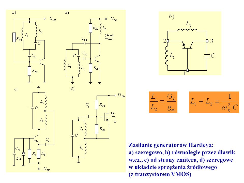 Zasilanie generatorów Hartleya: a) szeregowo, b) równolegle przez dławik w.cz., c) od strony emitera, d) szeregowe w układzie sprzężenia źródłowego (z