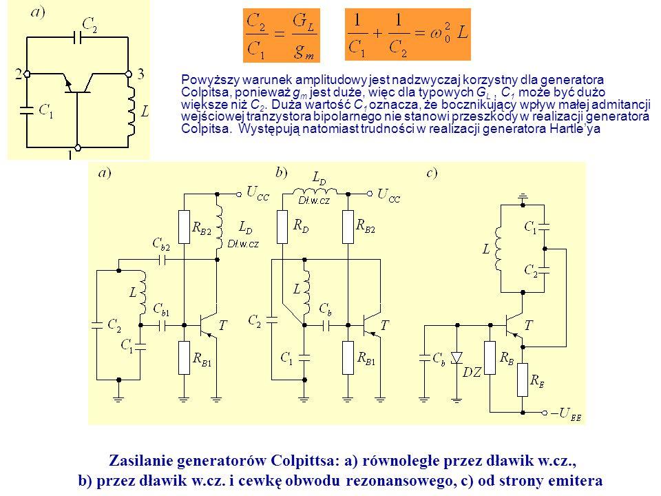 Zasilanie generatorów Colpittsa: a) równoległe przez dławik w.cz., b) przez dławik w.cz. i cewkę obwodu rezonansowego, c) od strony emitera Powyższy w
