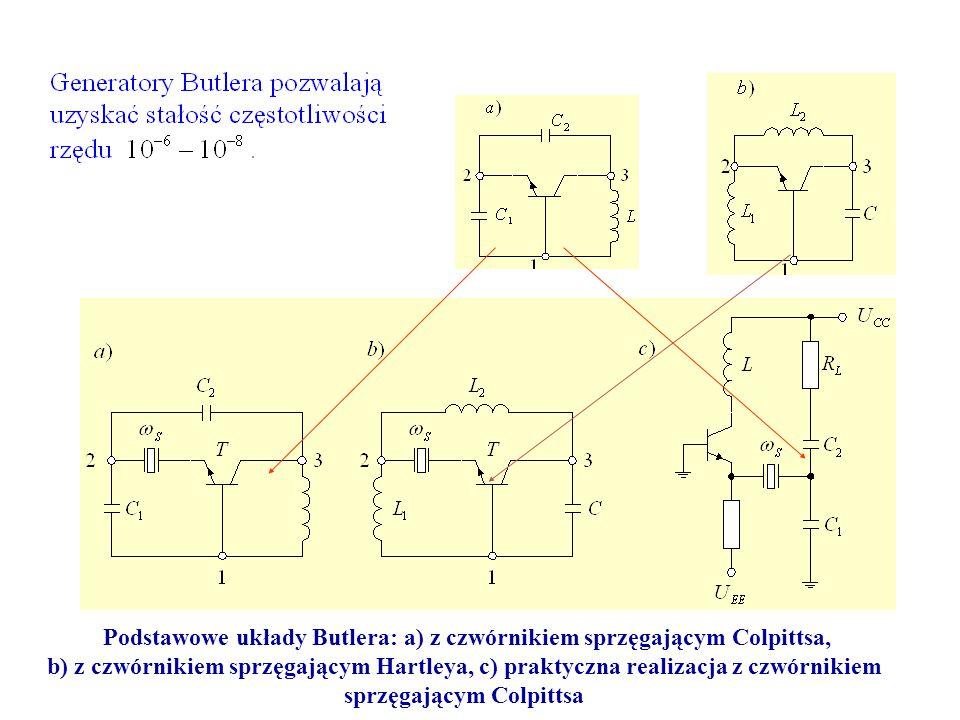 Podstawowe układy Butlera: a) z czwórnikiem sprzęgającym Colpittsa, b) z czwórnikiem sprzęgającym Hartleya, c) praktyczna realizacja z czwórnikiem spr