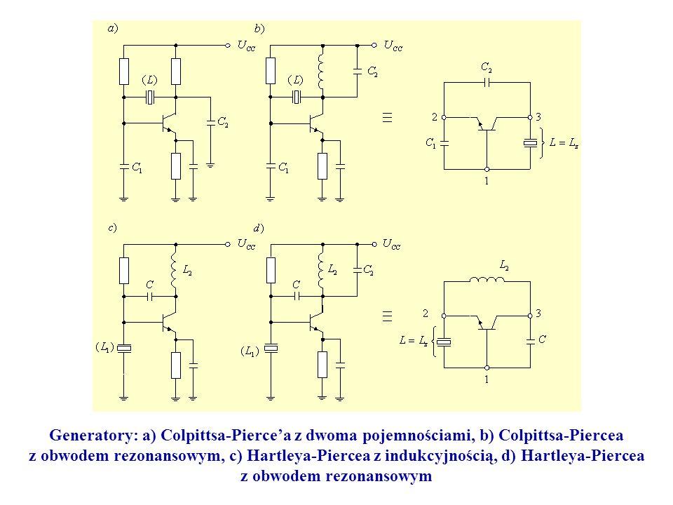 Generatory: a) Colpittsa-Pierce'a z dwoma pojemnościami, b) Colpittsa-Piercea z obwodem rezonansowym, c) Hartleya-Piercea z indukcyjnością, d) Hartley