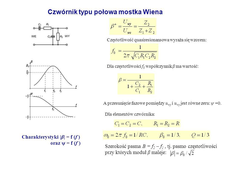 Częstotliwość quasiresionansowa wyraża się wzorem: Dla częstotliwości f 0 współczynnik β ma wartość: A przesunięcie fazowe pomiędzy u wy i u wy jest r