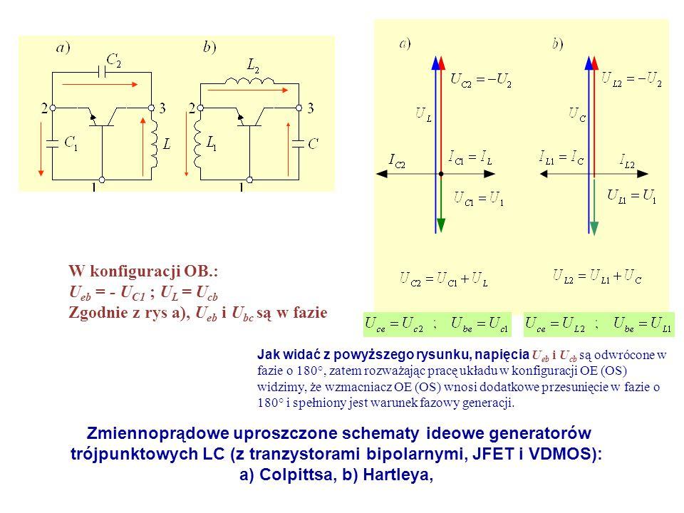 Zmiennoprądowe uproszczone schematy ideowe generatorów trójpunktowych LC (z tranzystorami bipolarnymi, JFET i VDMOS): a) Colpittsa, b) Hartleya, W kon