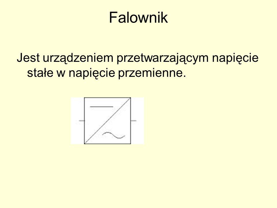 Falownik Jest urządzeniem przetwarzającym napięcie stałe w napięcie przemienne.