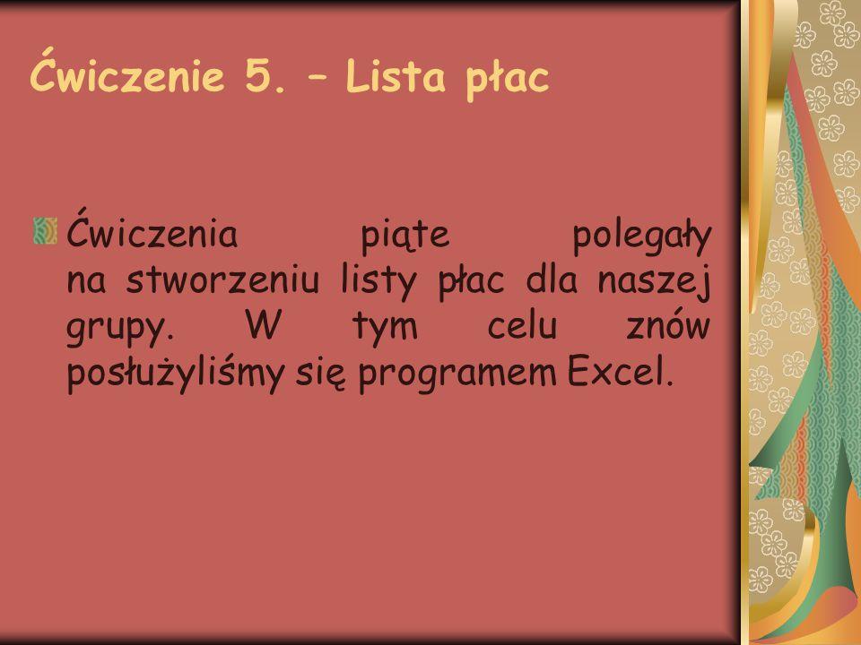 Ćwiczenie 5. – Lista płac Ćwiczenia piąte polegały na stworzeniu listy płac dla naszej grupy.