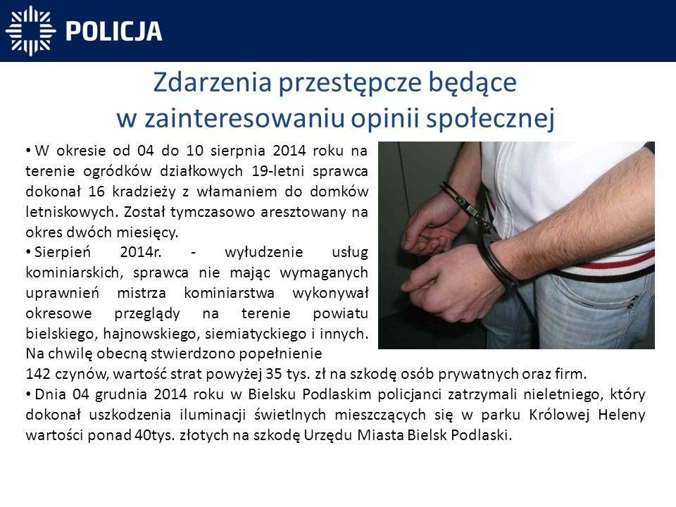 Zdarzenia przestępcze będące w zainteresowaniu opinii społecznej W okresie od 04 do 10 sierpnia 2014 roku na terenie ogródków działkowych 19-letni spr