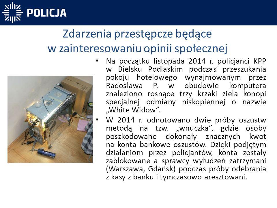 Na początku listopada 2014 r. policjanci KPP w Bielsku Podlaskim podczas przeszukania pokoju hotelowego wynajmowanym przez Radosława P. w obudowie kom