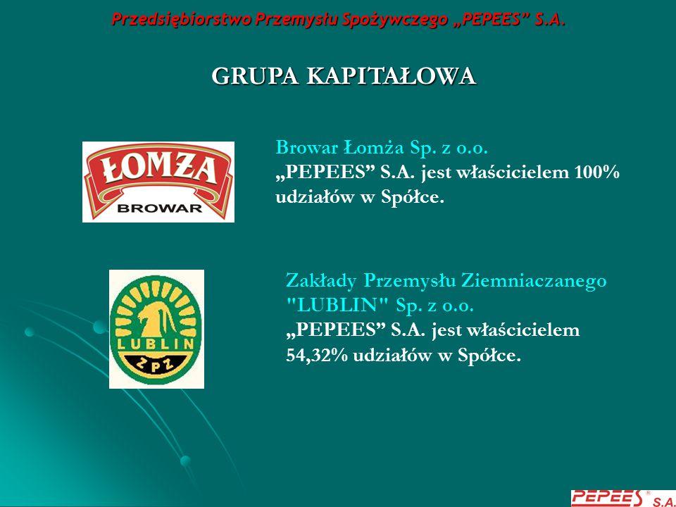 """Przedsiębiorstwo Przemysłu Spożywczego """"PEPEES"""" S.A. GRUPA KAPITAŁOWA Browar Łomża Sp. z o.o. """"PEPEES"""" S.A. jest właścicielem 100% udziałów w Spółce."""