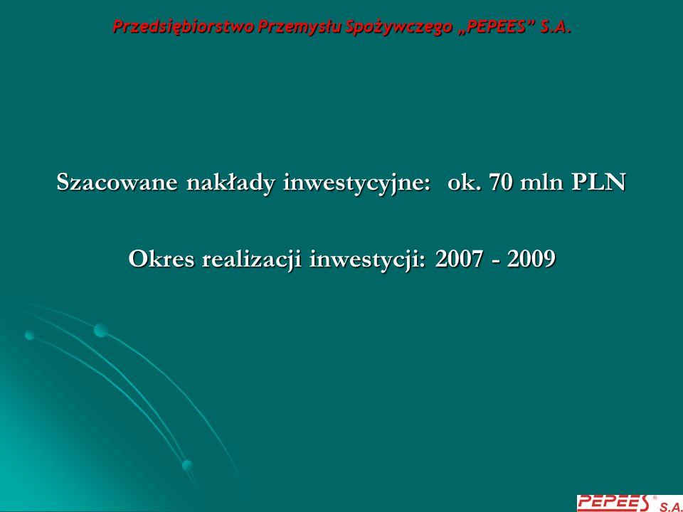 """Przedsiębiorstwo Przemysłu Spożywczego """"PEPEES"""" S.A. Szacowane nakłady inwestycyjne: ok. 70 mln PLN Okres realizacji inwestycji: 2007 - 2009"""