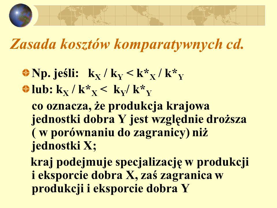 Zasada kosztów komparatywnych cd. Np. jeśli: k X / k Y < k* X / k* Y lub: k X / k* X < k Y / k* Y co oznacza, że produkcja krajowa jednostki dobra Y j