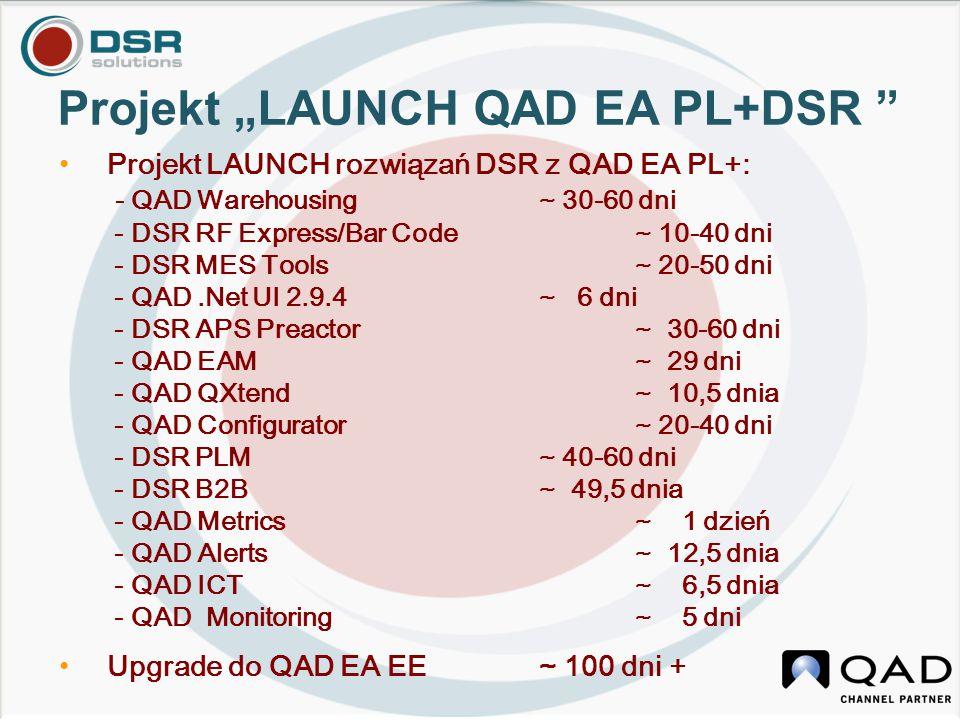 "Projekt ""LAUNCH QAD EA PL+DSR "" Projekt LAUNCH rozwiązań DSR z QAD EA PL+: - QAD Warehousing ~ 30-60 dni - DSR RF Express/Bar Code~ 10-40 dni - DSR ME"