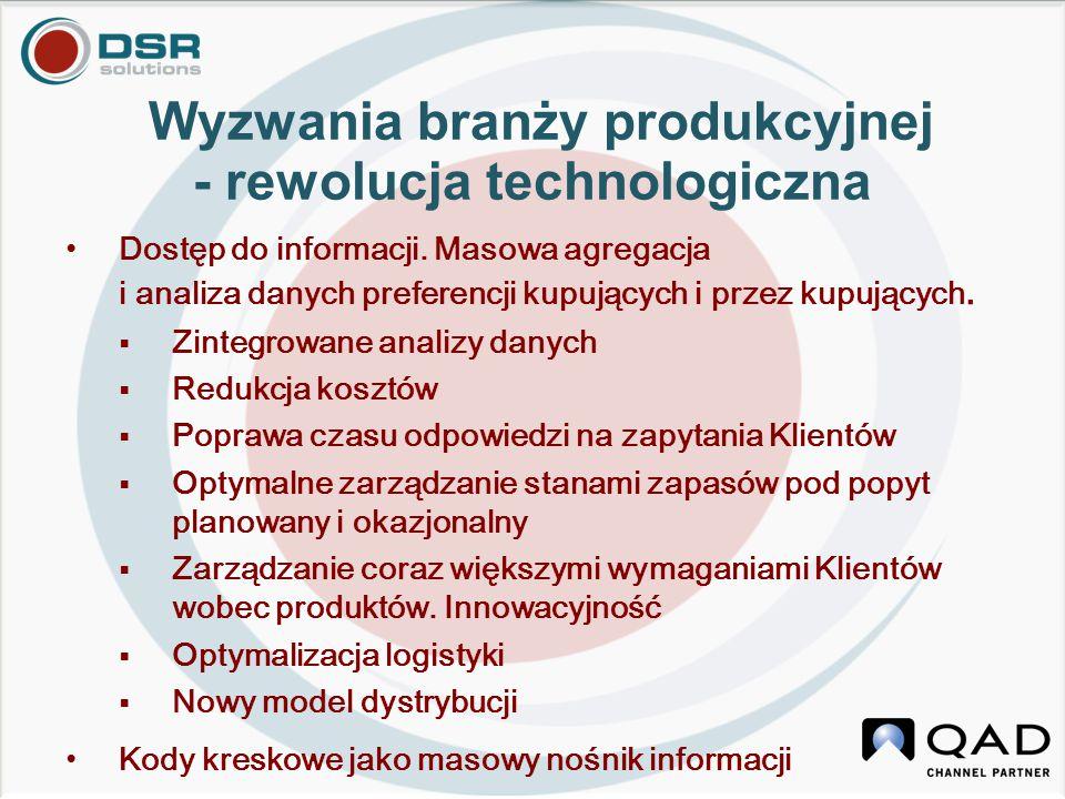 Wyzwania branży produkcyjnej - rewolucja technologiczna Dostęp do informacji. Masowa agregacja i analiza danych preferencji kupujących i przez kupując