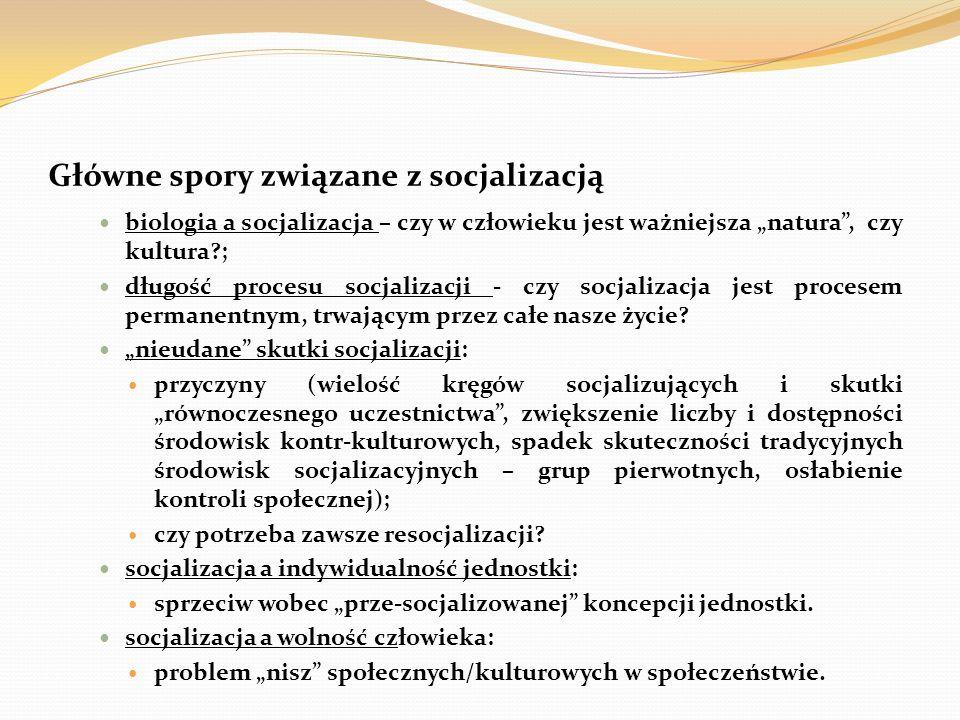 """Główne spory związane z socjalizacją biologia a socjalizacja – czy w człowieku jest ważniejsza """"natura"""", czy kultura?; długość procesu socjalizacji -"""