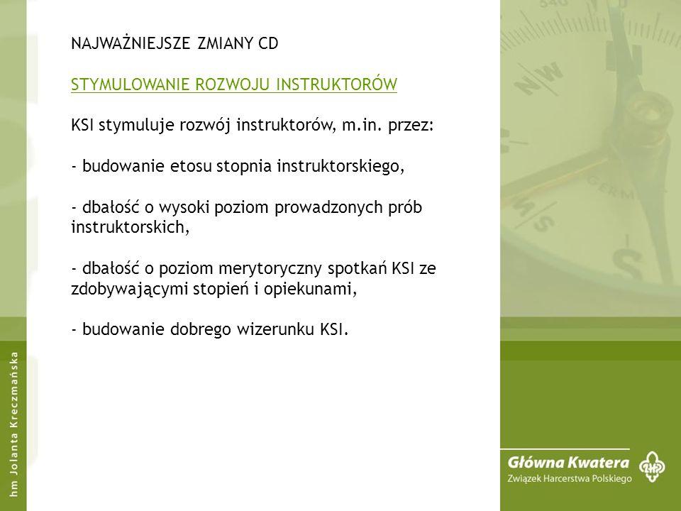 NAJWAŻNIEJSZE ZMIANY CD STYMULOWANIE ROZWOJU INSTRUKTORÓW KSI stymuluje rozwój instruktorów, m.in.