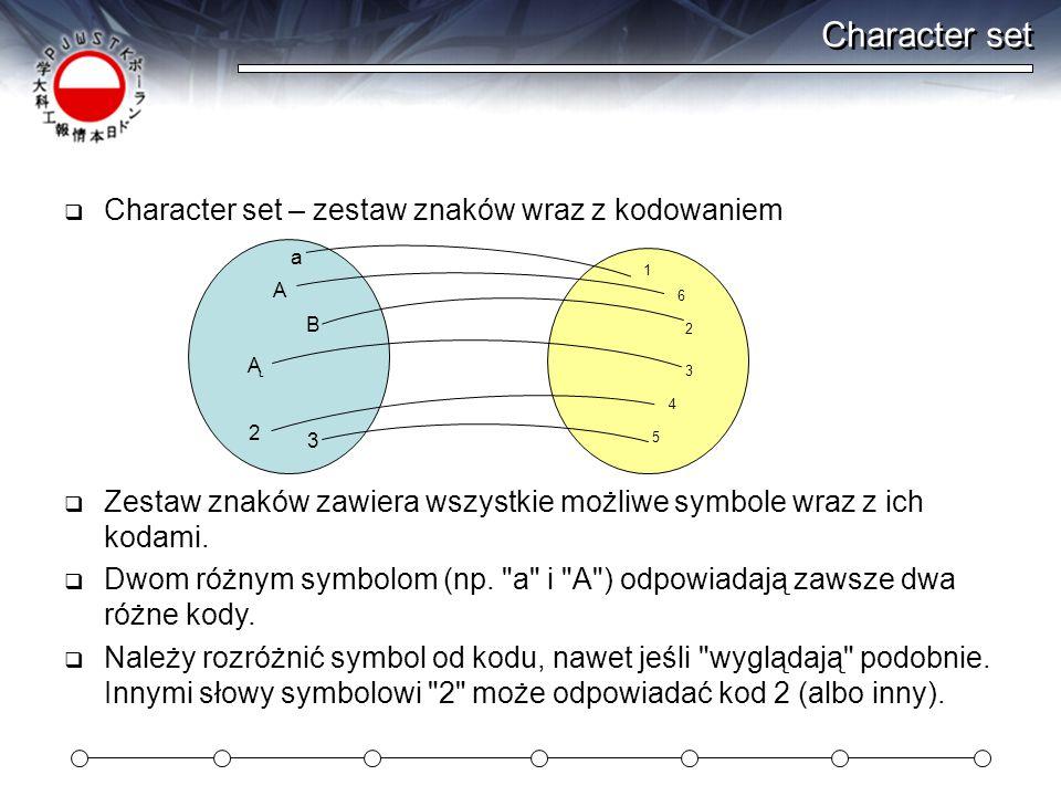 Character set  Character set – zestaw znaków wraz z kodowaniem  Zestaw znaków zawiera wszystkie możliwe symbole wraz z ich kodami.