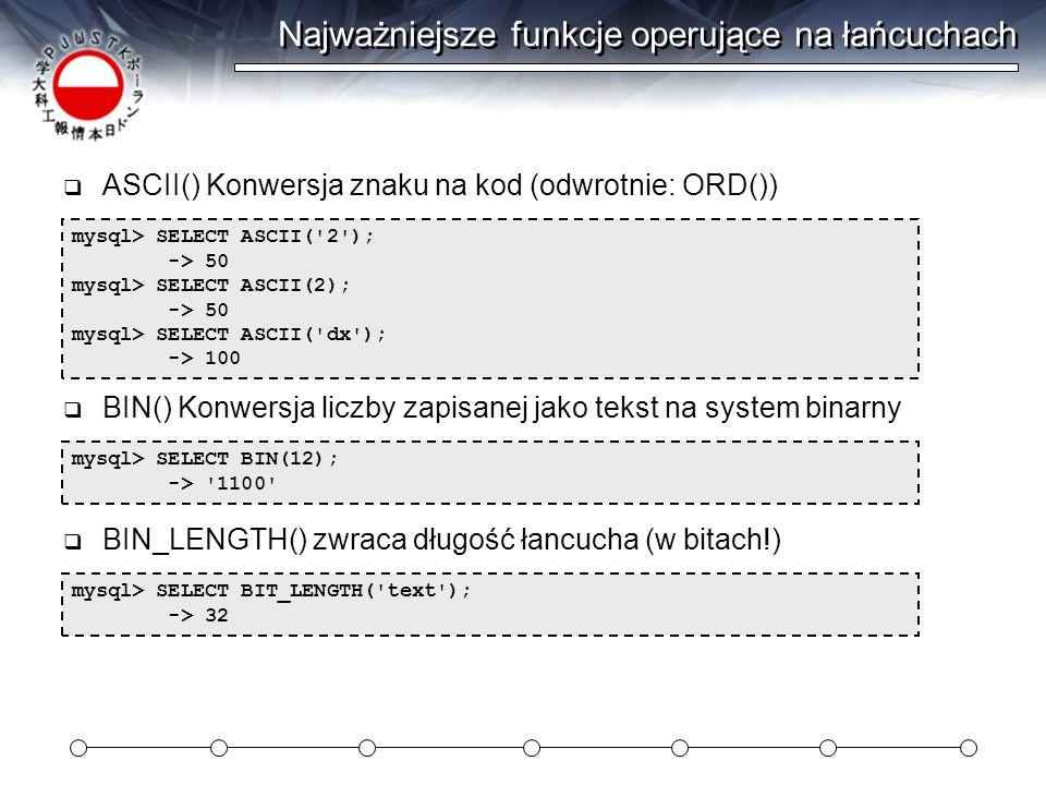 Najważniejsze funkcje operujące na łańcuchach mysql> SELECT ASCII( 2 ); -> 50 mysql> SELECT ASCII(2); -> 50 mysql> SELECT ASCII( dx ); -> 100  ASCII() Konwersja znaku na kod (odwrotnie: ORD()) mysql> SELECT BIN(12); -> 1100  BIN() Konwersja liczby zapisanej jako tekst na system binarny mysql> SELECT BIT_LENGTH( text ); -> 32  BIN_LENGTH() zwraca długość łancucha (w bitach!)