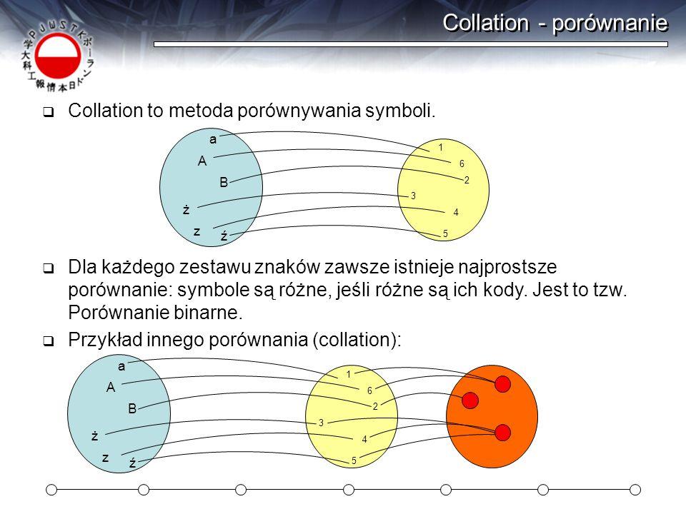 Collation - porównanie  Collation to metoda porównywania symboli.