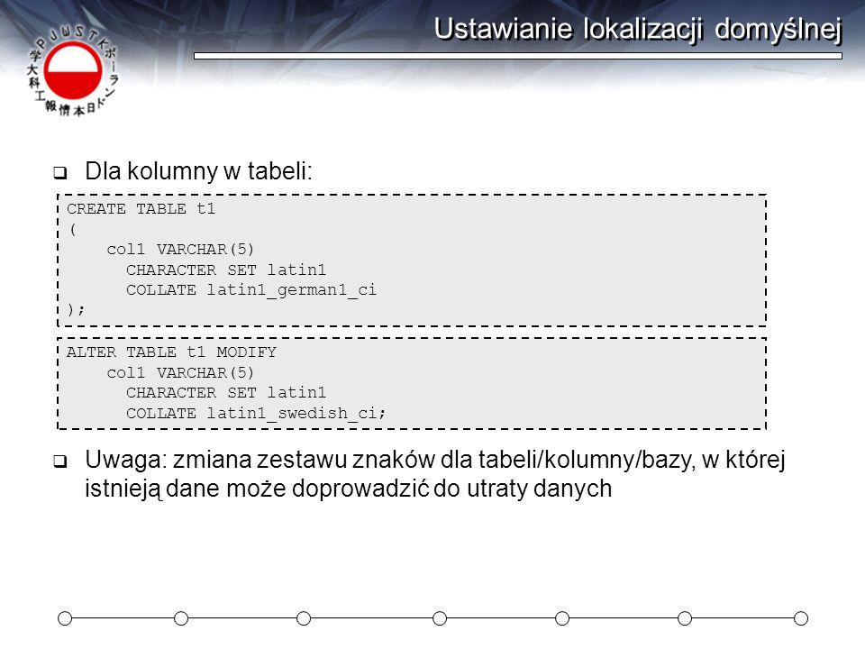 Ustawianie lokalizacji domyślnej  Dla kolumny w tabeli: ALTER TABLE t1 MODIFY col1 VARCHAR(5) CHARACTER SET latin1 COLLATE latin1_swedish_ci; CREATE TABLE t1 ( col1 VARCHAR(5) CHARACTER SET latin1 COLLATE latin1_german1_ci );  Uwaga: zmiana zestawu znaków dla tabeli/kolumny/bazy, w której istnieją dane może doprowadzić do utraty danych