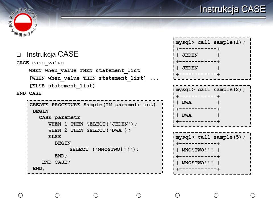 Instrukcja CASE  Instrukcja CASE CASE case_value WHEN when_value THEN statement_list [WHEN when_value THEN statement_list]...