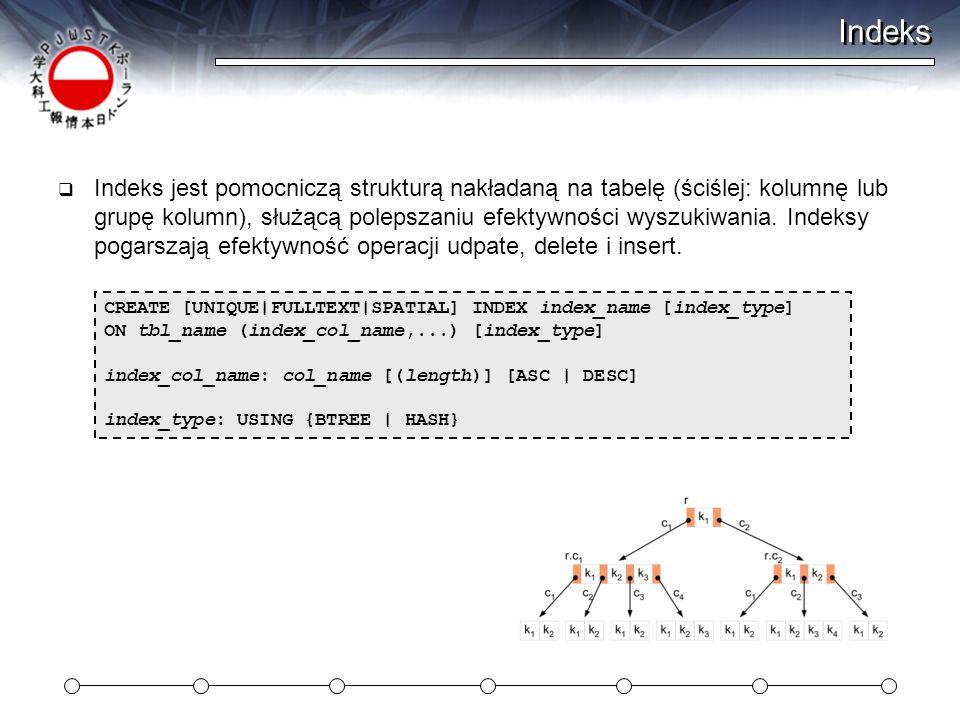 Indeks  Indeks jest pomocniczą strukturą nakładaną na tabelę (ściślej: kolumnę lub grupę kolumn), służącą polepszaniu efektywności wyszukiwania.