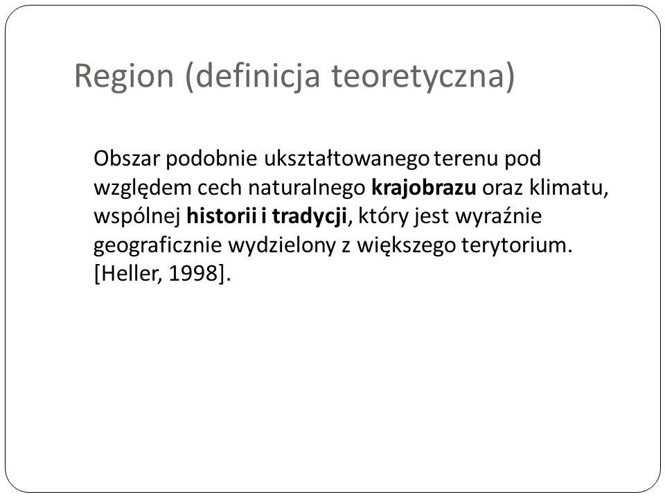 Region (definicja teoretyczna) Obszar podobnie ukształtowanego terenu pod względem cech naturalnego krajobrazu oraz klimatu, wspólnej historii i tradycji, który jest wyraźnie geograficznie wydzielony z większego terytorium.